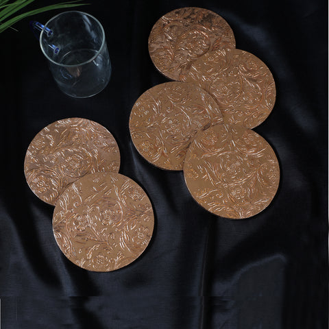 Metal Coated Handmade Papier Mache Coasters