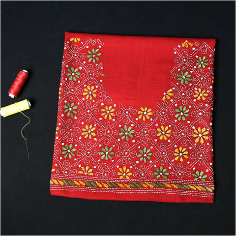 Bengal Hand-Embroidered Kantha  Pure Cotton Blouse Pieces