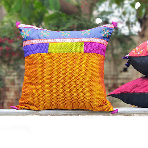 Gavanti Kasuti Embroidery Khun Fabric Cushion Covers by Arati Hiremath