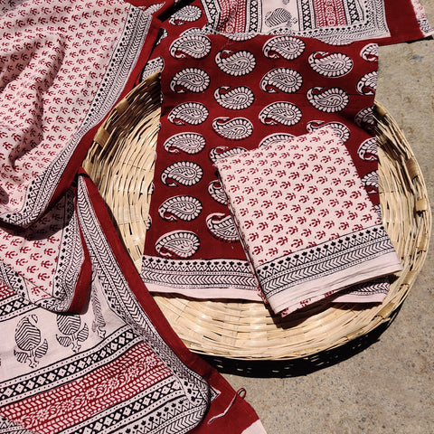 Bagh Block Print Cotton Suit Material Sets by Bilal Yusuf Khatri