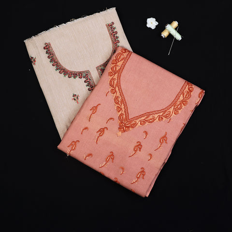 Kashidakari Embroidery Chanderi Silk, Kota & Cotton Kurta Materials by Zahoor Ahmed