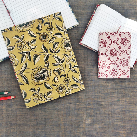 Handmade Paper Notebooks in Hand Block & Ikat Fabric Cover