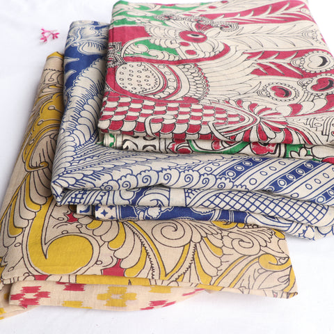 Kalamkari Printed Pure Cotton Sarees by Kota Durga Rao
