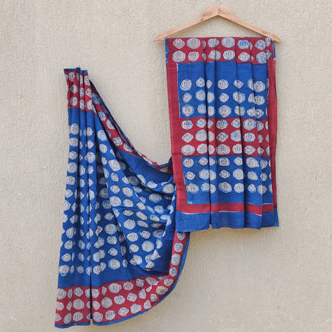 Bindaas Unlimited! Natural Dyed Art Block Print Cotton Sarees