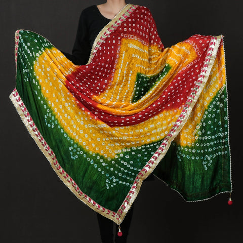 Jaipur Printed Bandhej Silk & Thread Work Cotton Dupattas