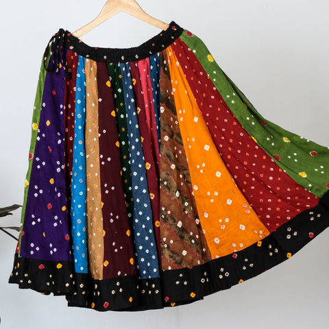 Bandhani Tie-Dye Cotton Fabric Skirts