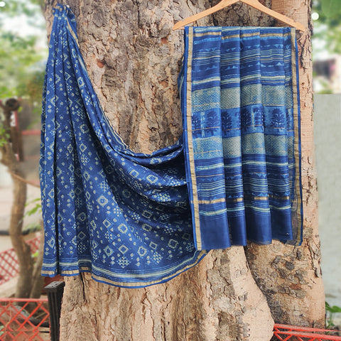 Traditional Akola Block Printed Chanderi Silk Sarees