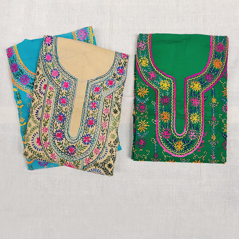 Ranihati Cotton & Chanderi Silk Chapa Work Tagai Phulkari Embroidery Kurta Materials