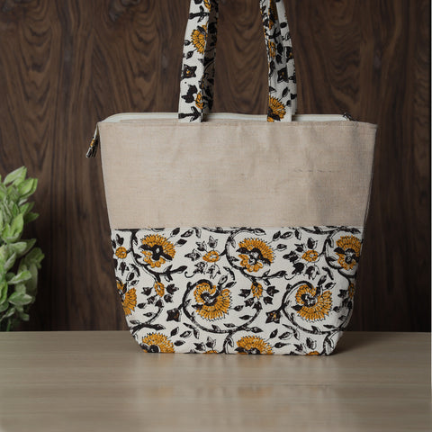 Jute & Canvas Cotton Block Printed Shoulder and Sling Bags by SASHA
