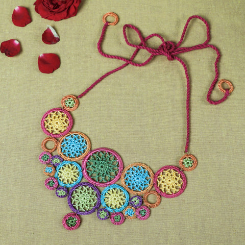 Handmade Flower Crochet Necklaces, Earrings, Hair Clips & Juda Sticks by Samoolam