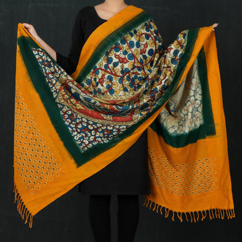 Traditional Madhubani & Kalamkari Handpainted Handloom Silk Dupattas by Roots Tale