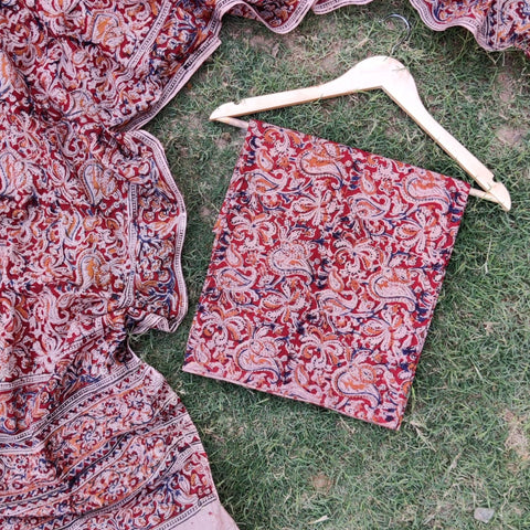 Kalamkari Block Print Natural Dye Cotton 2pc Suit Material Sets