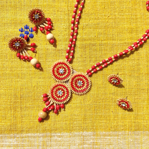 Natural Rice Paddy Seeds Necklace Sets & Earrings by Putul Das Mitra