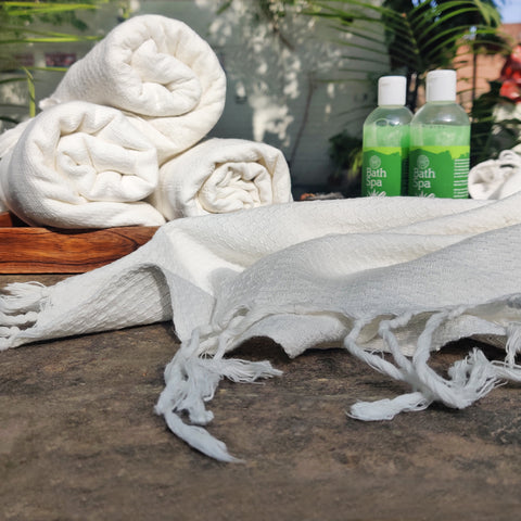 Bengal Handloom White Pure Cotton Towels