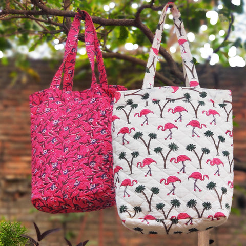 Quilted Cotton Shoulder Bags with Sanganeri Print