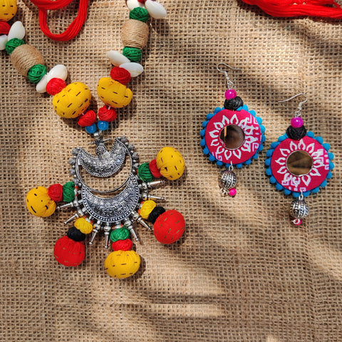 Handpainted & Bead Work Jute, Fabric Handmade Jewelry