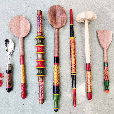 Handmade Kutch Lacquered Wooden Spoons, Spatulas, Chapatti & Shakarpara Rollers