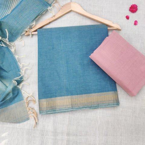 3pc Original Mangalgiri Handloom Cotton Suit Material Sets
