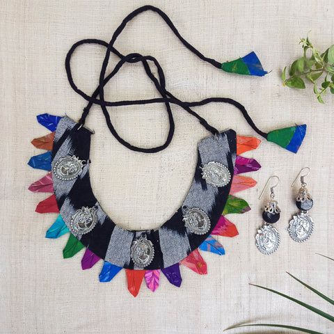 German Silver Silk Fabart Necklace Sets by Noori Bazar