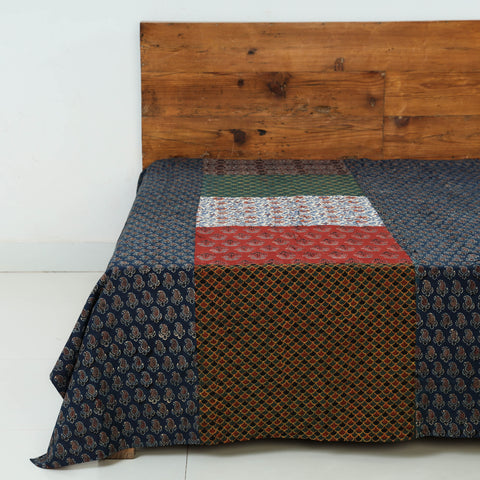 Patchwork Tukdi Kaam Ajrakh Block Printed Cotton Single Bed Covers