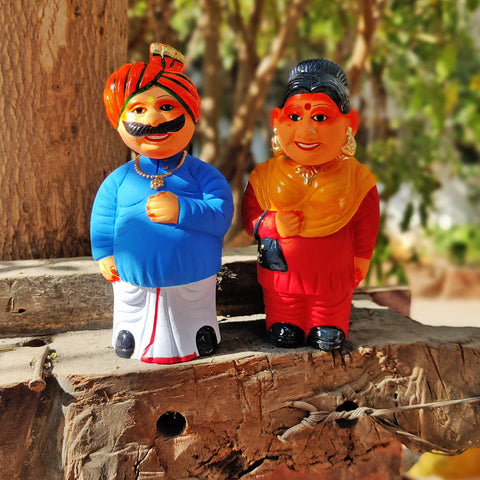 Terracotta Handpainted Bobble Head Toys & Magnets by Mahesh Kumar