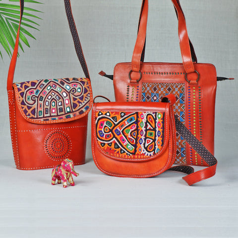 Handcrafted Kutch Leather Shoulder & Sling Bags by Anchal Bijlani Pathubhai