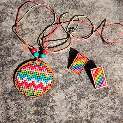 Tribal Hand Embroidered Wooden Necklaces & Earrings by Kamli