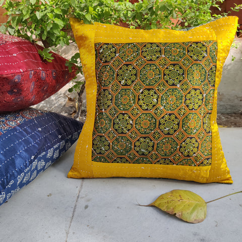 Kutch Tagai Ajrakh Print Mashru Silk & Cotton Table Runners, Cushion Covers & Table Mats by Ramji Devraj