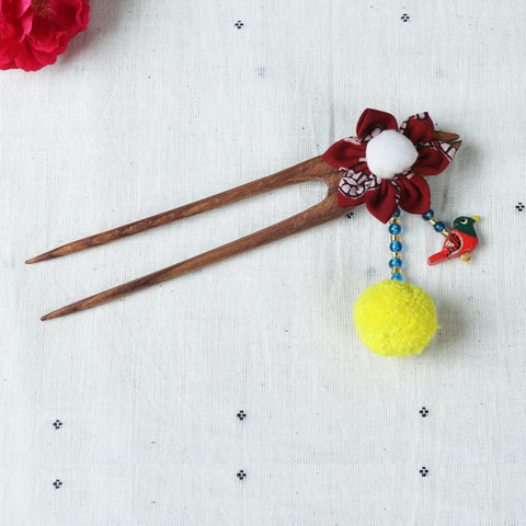 Handmade Gulmohar Flower Juda Sticks & Hair Clips