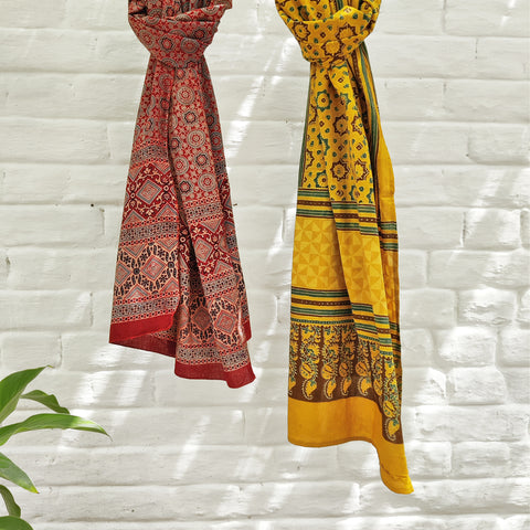 Ajrakh Hand Block Print Cotton Stoles from Kutch