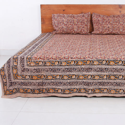 Kalamkari Block Printed Cotton Double Bed Covers by Kota Durga Rao