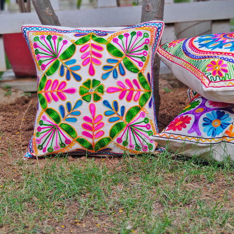 Mashru Silk Ajrakh Print, Aari & Kutch Hand Work Cushion Covers