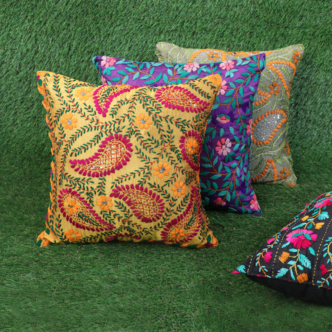 Phulkari Hand Embroidered Chanderi Silk Cushion Covers