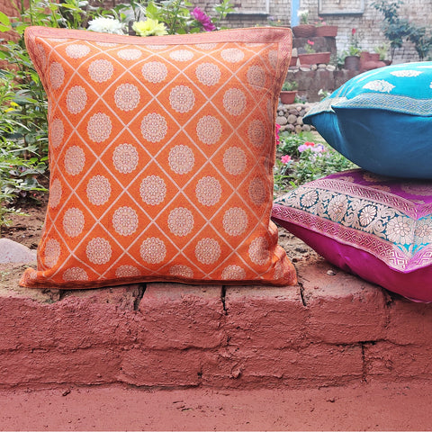 Pure Banarasi Handwoven Silk Zari Table Runners & Cushion Covers