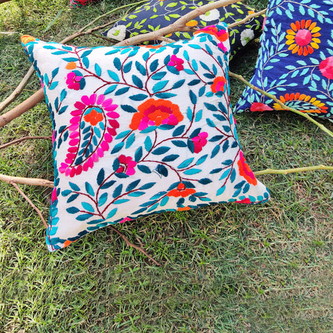 Chanderi Silk Phulkari Hand Embroidered Cushion Covers