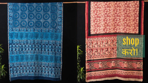 Traditional Handloom Chanderi Silk Sarees in Pipad, Bagru & Akola Block Prints