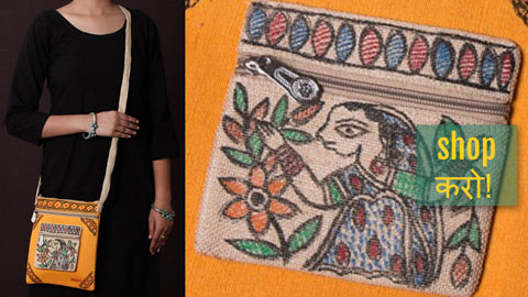 Madhubani Handpainted Jute Cotton Clutches, Sling & Tote Bags by Ruchi Jha