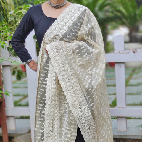 Embroidered Zari Weave Off-white Kota Silk Cotton Dupattas
