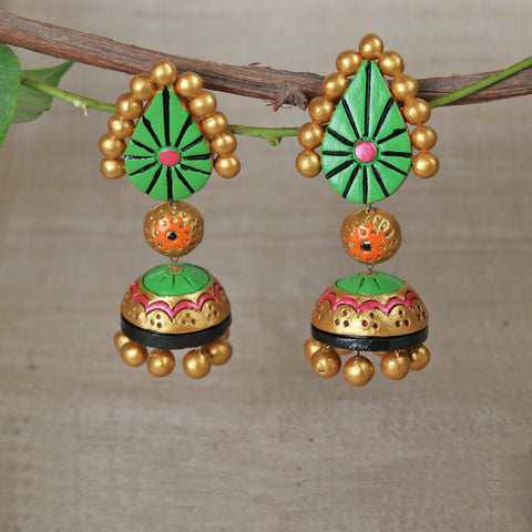 Bishnupur Handpainted Terracotta & Fabric Necklace Sets and Earrings by Kasturi