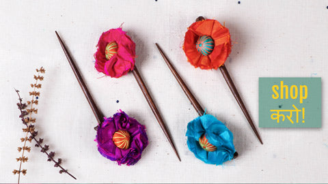 Jugaad Handmade Silk Flower Wooden Juda Sticks