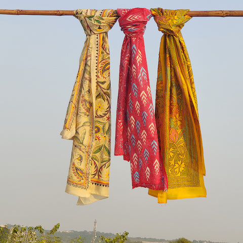 Bengal Kantha Embroidered Silk Handloom Stoles
