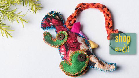 Kantha Stitch Funky Keychains from Jan Sandesh