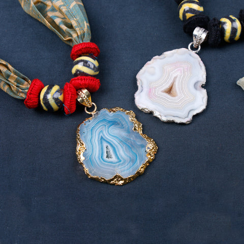 Special Ikat Fabric Stone Necklaces by Jalpari
