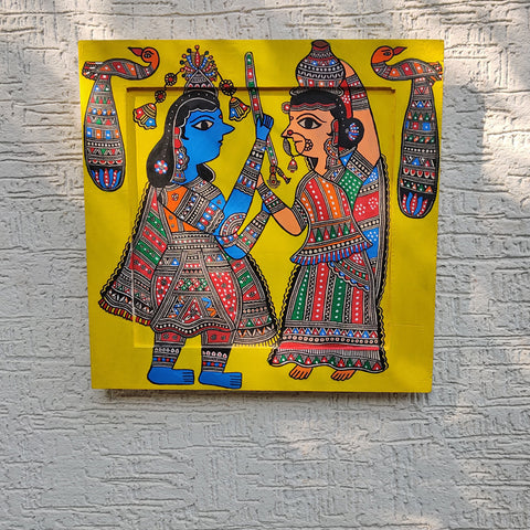 Traditional Madhubani Handpainted Wooden Wall Frames / Hangings by Hira Devi Jha
