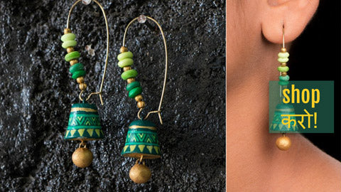 ✾ Handpainted Terracotta Bali Earrings by Rajesh and Monali ✾