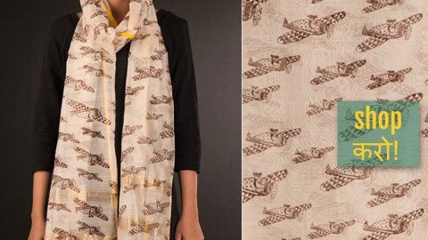 ❁ Maheshwari Silk Art Print Stoles with Zari by Sutanu ❁