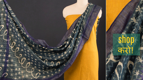 ❁ Kashish & Indigo South Cotton Dupatta with Bodoweaves Cotton Kurta Materials ❁