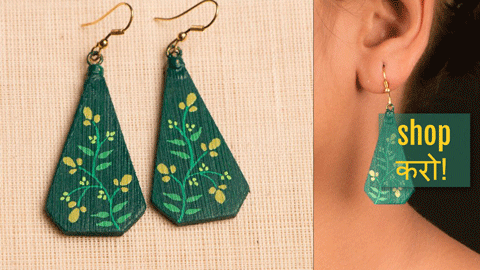 ❃ Handcrafted Bamboo Earrings with Miniature Painting by Aakrati ❃