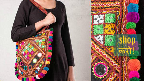 ☘ Kutchi Embroidery Mirror Work Shoulder, Sling & Hand Bags ☘