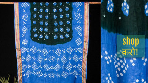 Kutch Bandhani Mul Cotton Sarees with Blouse Piece